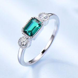 Art Deco Emerald Engagement Ring Sterling Silver